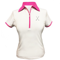 Titania Golf: Women's Golf Polo: Crossed Clubs