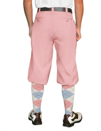 Golf Knickers: Men's 'Par 4' Cotton/Ramine Golf Knickers - Pink