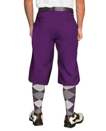 Golf Knickers: Men's Purple 'Par 4' Cotton/Ramine Golf Knickers