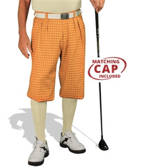Golf Knickers: Men's 'Par 5' Plaid Golf Knickers & Cap - Ravenspark