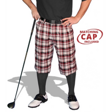 Golf Knickers: Men's 'Par 5' Limited Plaid Golf Knickers & Cap - Tuscany