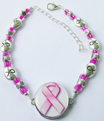 One Putt Designs - Breast Cancer Awareness Ribbon Ball Marker Ankle Bracelet