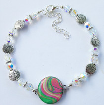 One Putt Designs - Aurora Borealis Crystal Ball Marker Ankle Bracelet #4SWCG