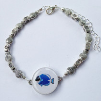 One Putt Designs - Go Fish Pewter Fish Ball Marker Ankle Bracelet #3FH