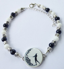 One Putt Designs - Black & White & Silver All Over Ball Marker Ankle Bracelet #4BW