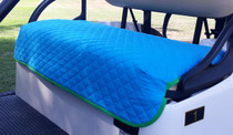 GolfChic: Golf Cart Seat Cover - Turquoise Quilted with Green Binding