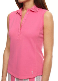 Golftini: Womens Golf Sleeveless Eyelet Polo - Hot Pink SALE