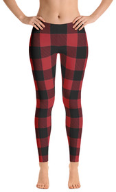 ReadyGOLF: Lumberjack Red Women's All-Over Leggings
