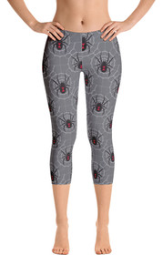 ReadyGOLF: Black Widow Grey Women's Capri Leggings