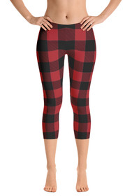 ReadyGOLF: Lumberjack Red Women's Capri Leggings