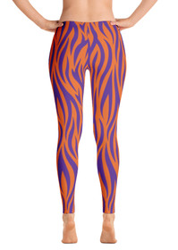 Orange & Purple Tiger Stripes Women's All-Over Leggings by ReadyGOLF