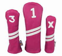 Sunfish: Leather Headcovers Set - Pink and White