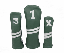 Sunfish: Leather Headcovers Set - Green & White