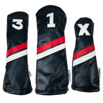 Sunfish: DuraLeather Headcovers Set - Black with Red & White Stripes