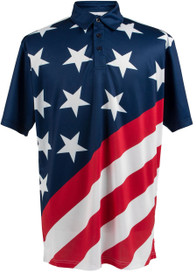 USA Flag Polo Mens Golf Polo Shirt by ReadyGOLF