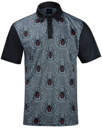 Black Widow Grey Mens Golf Polo Shirt by ReadyGOLF