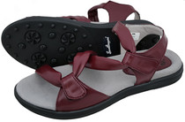 Sandbaggers: Women's Golf Sandals - Grace Burgundy