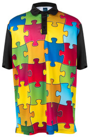 Puzzled Mens Golf Polo Shirt by ReadyGOLF
