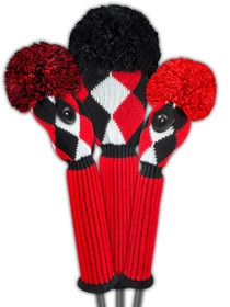 Just 4 Golf: Diamond Headcover Set - Red, Black & White
