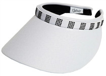 Glove It: Bling Slide On Golf  Visor - White with Crystal Square
