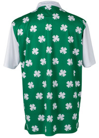 34e4d72248 ReadyGOLF Mens Golf Polo Shirt - Four-Leaf Clover (White)