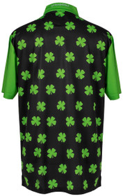 ReadyGOLF Mens Golf Polo Shirt - Four-Leaf Clover (Lime Green)