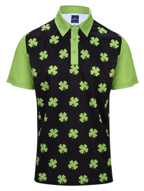 Four-Leaf Clover (Lime Green) Mens Golf Polo Shirt by ReadyGOLF