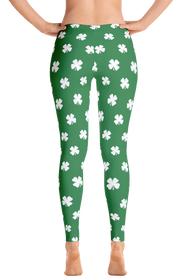 ReadyGOLF Womens All-Over Leggings - Four-Leaf Clover (White)