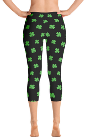 ReadyGolf: Womens Capri Leggings - Four-Leaf Clover (Lime Green)