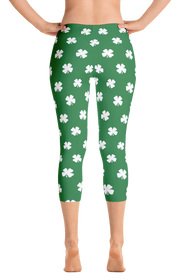 Four-Leaf Clover (White) Women's Capri Leggings by ReadyGOLF