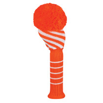 Just 4 Golf: Driver Headcovers - Wide Diagonal Stripe - Orange & White