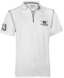 Tattoo Golf: Men's Polo Golf Shirt - Lucky 13  Hybrid Performance (White/Black)