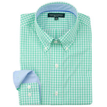 Fairway & Greene Men's Shirt - Gingham Check Button Down (Real Jade) Small - SALE