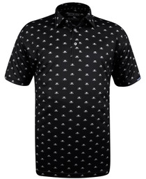 Tattoo Golf: Men's Micro Skull ProCool Golf Shirt - Black