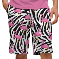 Loudmouth Golf: Men's StretchTech Shorts - Savage Pink Flamingos