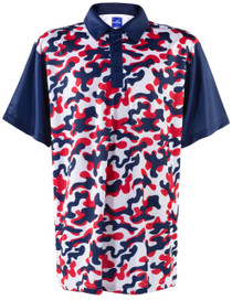 USA Red, White & Blue Camo Mens Golf Polo Shirt