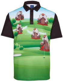 Dancing Gopher Mens Golf Polo Shirt by ReadyGOLF