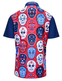 USA Sugar Skulls Mens Golf Polo Shirt by ReadyGOLF