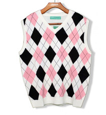 Golf Knickers: Men's Argyle Sweater Vest (White/Pink/Black) 3XL - SALE