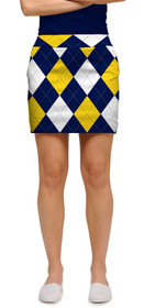 Loudmouth Golf Womens Skort - Blue & Gold Mega StretchTech