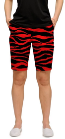 Loudmouth Golf Womens Bermuda Shorts: Red Tarzan StretchTech