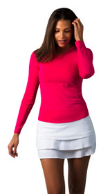SanSoleil: Ladies UPF 50 SolTek Ice Tennis Sport/Crew 900603 (Fiesta Pink) Medium - SALE