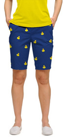 Loudmouth Golf Womens Bermuda Shorts: Rubber Duckies Blue StretchTech