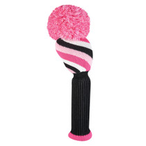 Just 4 Golf: Driver Headcover - Diagonal Stripe - Pink, Black, & White