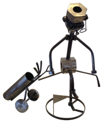 Giant Frustrated Golfer Metal Nuts and Bolts Sculpture by Steelman24