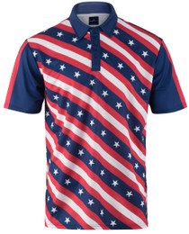 USA Stars and Bars Mens Golf Polo Shirt by ReadyGOLF