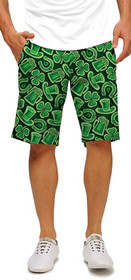 Loudmouth Golf: Men's StretchTech Shorts - Fore Leaf Clover with Shamrocks