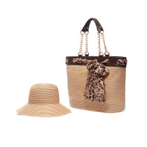 Physician Endorsed: Women's Serengeti Hat & Bag Set & Matching Scarf - Tan/Leopard