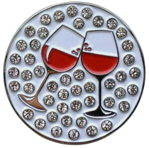 ReadyGolf: Cheers Wine Ball Marker & Hat Clip with Crystals