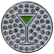 ReadyGolf: Martini  (Green Apple) Ball Marker & Hat Clip with Crystals